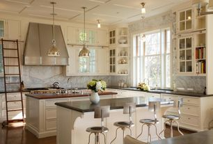Traditional Kitchen with Glass panel, Wood counters, L-shaped, Soapstone counters, Flat panel cabinets, Box ceiling