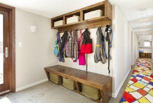 Contemporary Mud Room with Ikea Hemnes Wall/Bridging Shelf, Light Brown, Built-in bookshelf, Nodus Mondrian Runner, Carpet