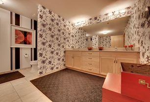 Eclectic Master Bathroom with stone tile floors, flush light, interior wallpaper, Limestone counters, Flush, Master bathroom