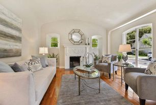 Traditional Living Room with Origin Crafts Versailles Mirror Hexagon Large Silver, French doors, Hardwood floors