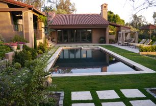 Mediterranean Swimming Pool with Pathway, exterior tile floors, Deck Railing, Pool with hot tub, picture window, Fence