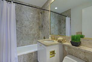 Traditional Full Bathroom with Raised panel, Limestone, Flush, Undermount sink, Limestone counters, tiled wall showerbath