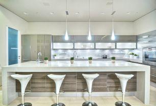 Contemporary Kitchen with European Cabinets, Flush, Arizona Tile Eramosa Natural Porcelain Tile, travertine tile floors