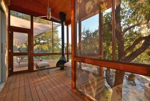 Contemporary Porch with Screened porch, Transom window, French doors