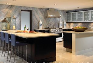 Contemporary Kitchen with double oven range, Flush, Standard height, Breakfast bar, U-shaped, full backsplash, Wall Hood