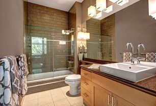 Contemporary Full Bathroom with Vessel sink, Simple Granite, Flush, Ms international - autumn harmony, frameless showerdoor