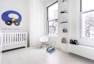 Contemporary Kids Bedroom with Built-in bookshelf, Hardwood floors, Spot on Square Hiya Crib White