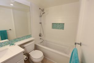 Contemporary Full Bathroom with Undermount sink, Ceramic Tile, Corian counters, Rain shower, Hammersmith - subway tile