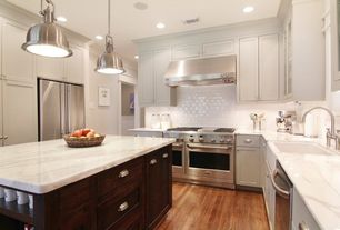 Traditional Kitchen with Inset cabinets, Flush, Glass panel, Farmhouse sink, Kitchen island, Built-in bookshelf, Subway Tile
