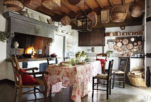 Eclectic Kitchen with slate tile floors, Pottery Barn Isabella Chair, Simple Marble, Simple marble counters, L-shaped