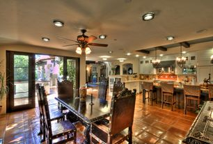 Eclectic Great Room with High ceiling, Ceiling fan, sliding glass door, flush light, Chandelier, can lights, Exposed beam