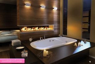 Modern Master Bathroom with picture window, Paint, Wall sconce, Drop in whirlpool bathtub with 6 jets, air controls, Bathtub