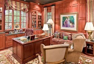 Traditional Home Office with can lights, Paint 1, Custom millwork, Casement, Hardwood floors, Study, Built-in bookshelf