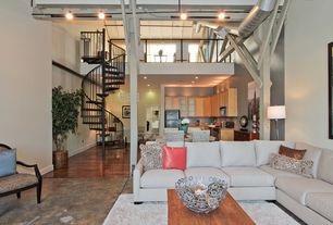 Contemporary Great Room with Concrete floors, Hardwood floors, picture window, Welded Washer Bowl, Columns, can lights, Loft