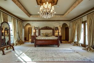 Traditional Master Bedroom with French doors, Amish Victorian Full Length Cheval Floor Mirror, Chandelier, Crown molding