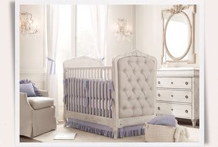 Traditional Kids Bedroom with Casement, Standard height, Paint, Washed linen demi sloped arm swivel glider with slipcover