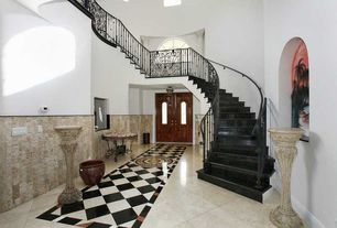 Traditional Entryway with flush light, Cathedral ceiling, Wainscotting, French doors, simple marble floors