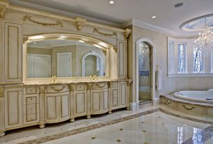 Traditional Master Bathroom with Flat panel cabinets, Casement, Bathtub, can lights, Standard height, Undermount sink, Shower