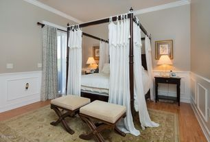 Master Bedroom with picture window, Crown molding, Wainscotting, Standard height, Hardwood floors