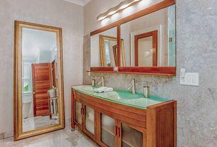 Contemporary Master Bathroom with Polished stone tile wall, Master bathroom, Modern vanity bar light, Crown molding, Flush