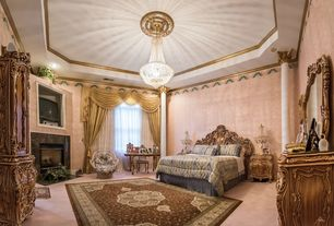 Traditional Master Bedroom with Standard height, Carpet, can lights, interior wallpaper, Fireplace, stone fireplace, Columns