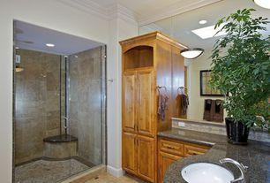 Traditional 3/4 Bathroom with Raised panel, Concrete floors, Standard height, Powder room, Shower, partial backsplash