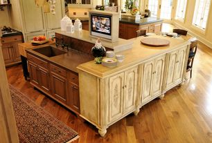 Country Kitchen with L-shaped, Glass panel, Travertine counters, Flat panel cabinets, Kitchen island, Large Ceramic Tile