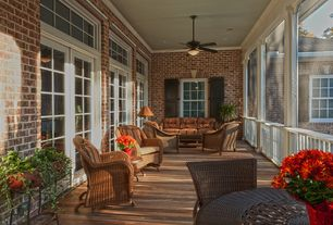 Traditional Porch with Jeco 3 piece wicker chair and end table set, French doors, Deck Railing, Screened porch