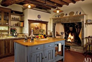 Country Kitchen with Kitchen island, Exposed beam, Flat panel cabinets, Inset cabinets, Glass panel, Limestone Tile, One-wall