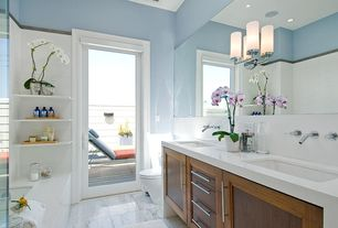 Contemporary Master Bathroom with Master bathroom, Quartz counters, Glass panel door, Undermount sink, Flush, Double sink