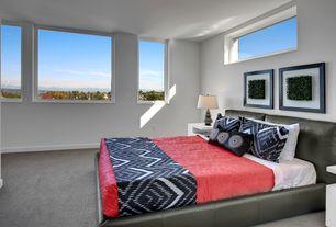 Contemporary Master Bedroom with Silver Leaf Sea Urchin Lamp, Carpet, Abbyson Living Caroline Black Leather Platform Bed