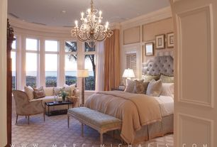 Traditional Master Bedroom with Bernhardt sophia headboard, Crown molding, Paint, can lights, picture window, Chandelier