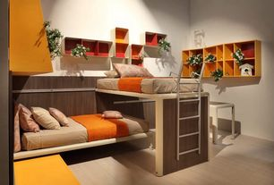 Contemporary Kids Bedroom with Bunk beds, Company c cameron matelasse, Laminate floors, Modular, Cosmo wall cubes, Art desk