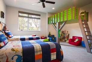 Contemporary Kids Bedroom with Ikea Stora Loft Bed, Carpet, Pottery Barn Kids Emmett Quilted Bedding, Ceiling fan, Bunk beds