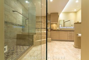 Contemporary Master Bathroom with Bathtub, Standard height, drop in bathtub, European Cabinets, Wall Tiles, Shower, Flush