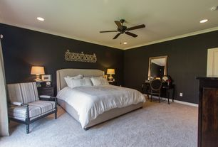 Traditional Master Bedroom with Carpet, Crown molding, Ceiling fan, Art desk