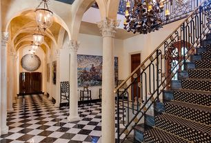 Traditional Hallway with High ceiling, Exposed beam, stone tile floors, simple marble tile floors, flush light, flat door