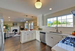 Traditional Kitchen with Crown molding, Simple marble counters, Pendant light, Standard height, U-shaped, dishwasher