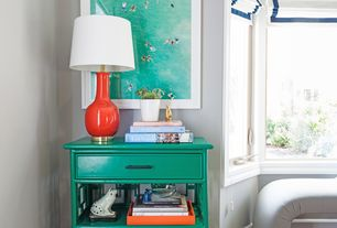 Eclectic Living Room with Worlds away nightright turquoise side table, Robert abbey audrey table lamp in pumpkin