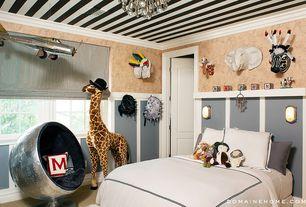 Eclectic Kids Bedroom with Melissa & Doug Deluxe Plush Giraffe, no bedroom feature, specialty door, Casement, Paint 1, Carpet