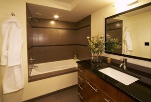 Contemporary Full Bathroom with tiled wall showerbath, Simple marble counters, Concrete tile , Frameless, Built-in bookshelf