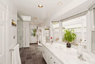 Traditional Master Bathroom with Skylight, Raised panel, frameless showerdoor, French doors, Double sink, Master bathroom
