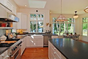 Traditional Kitchen with Flat panel cabinets, flush light, Farmhouse sink, Flush, High ceiling, Laminate floors, L-shaped
