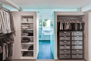 Contemporary Closet with Standard height, picture window, can lights, Built-in bookshelf, Paint 1