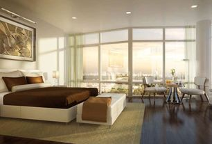 Contemporary Guest Bedroom with Carpet, Hardwood floors, Columns