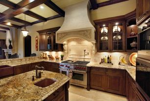 Craftsman Kitchen with Pendant light, Farmhouse sink, Kitchen island, Complex granite counters, Exposed beam, Glass panel