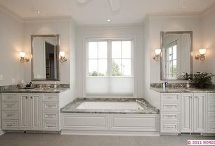 Traditional Master Bathroom with Raised panel, Complex Granite, Frosted window, Undermount sink, Master bathroom, Ceiling fan