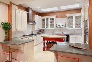 Traditional Kitchen with U-shaped, Raised panel, Large Ceramic Tile, Concrete floors, Simple marble counters, Kitchen island