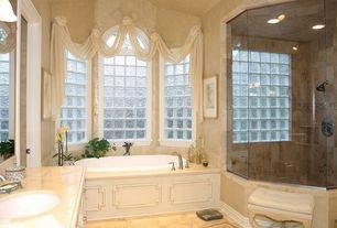 Traditional Full Bathroom with Master bathroom, frameless showerdoor, Raised panel, Kohler - Finial Deck Mount Tub Faucet