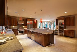 Traditional Kitchen with Glass panel door, L-shaped, Simple granite counters, Breakfast nook, Undermount sink, Kitchen island
